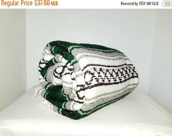 Mexican Serape,Green,Pendelton Style,Saltillo,Mexican Blanket,Fringe,Southwestern Blanket,Falsa,Mexican Throw,Mexican Blanket,Mexico,1970s