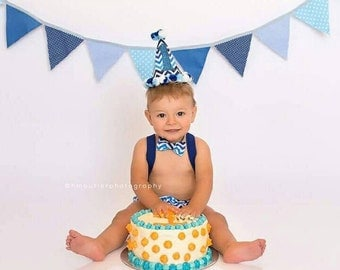 Baby Boy Blue First Smash Outfit - 1st Birthday Chevron Outfit - Cake Smash Outfit Boy - Blue and White - Personalised 1st Birthday Outfit