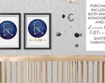 Starry Night Constellation R Monogram (Initial or Letter) Nursery Decor - Printable Baby Shower Gift or Use for Framing Full Name