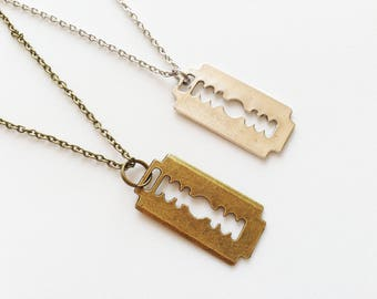 Blade necklace etsy razor blade necklace blade necklace razor blade jewelry razor blade gift dark necklace rock necklace punk thecheapjerseys Choice Image