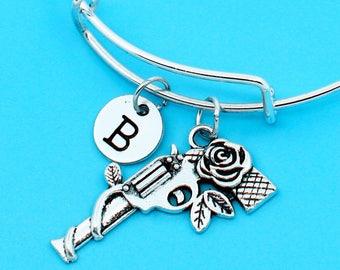 rose gun bangle bracelet, rose gun bracelet, custom charm pendant, personalized bracelet, initial bangle, custom bangle, gun and rose charm