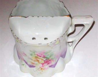Vintage RS Prussia Roses Blown Out Flowers Porcelain Shaving Mug Purple Pink circa 1910