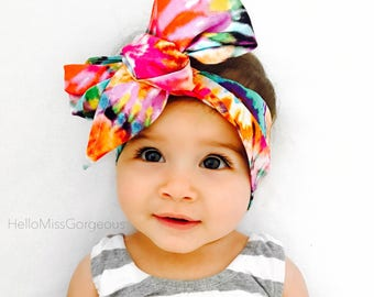 60's BABE Gorgeous Wrap- headwrap; fabric head wrap; tie dye head wrap; newborn headband; baby headband; toddler headband