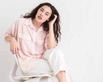 80s Sheer Pink Button Down
