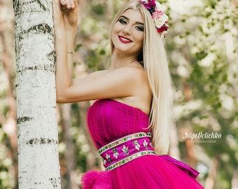 Bridal flower crown Wedding flower crown Bridal hair piece Wedding hair piece Bridal headpiece boho hair wreath floral crown boho crown pink