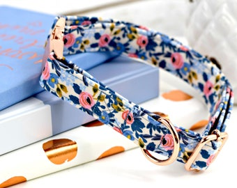 Dog Collar - Les Fleurs Rosa - Periwinkle/Coral Floral Print - Fabric Collar - Cotton + Steel Rifle Paper Company - Rose Gold Metal Hardware