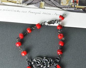 Sterling silver bracelet, red coral bracelet, wire wrapped bracelet, wirewrapped, wire bracelet, 925 silver, sterling silver, bohemian boho