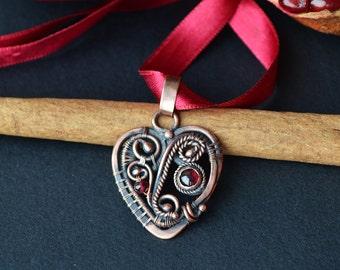 Heart pendant, bohemian chic, garnet pendant, heart shaped, heart jewelry, red garnet, wire wrapped pendant, filigree, romantic gift