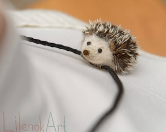 Hedgehog necklace, hedgehog pendant, Hedgie necklace, cute hedgehog jewelry, tiny hedgehog gift for her, animal necklace, felt hedgehog, MTO