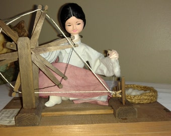 Vintage Japanese Paper Mache Doll, Cotton/Wool Weaver, Excellent condition!