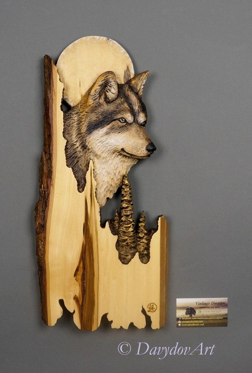 Loup Sculpt Sur Bois Sculpture Sur Bois Avec Corce Par