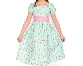 Bella Dress Woodland Fun, Girls Blue Dress, Girls Spring Dress, Girls Cotton Dress, Girls summer Dress, Matching Girl Dress, Girls Birthday