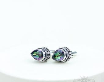 Genuine Tear Drop Mystic Topaz Vintage Filigree Antique 925 Fine S0LID Sterling Silver Men's / Unisex CUFFLINKS k745