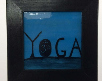 Yoga art, Yoga gift, Yoga painting, Stained Glass Art, Om, yoga pictures