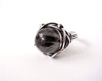 Tourmalinated Quartz Ring ~ Aus/UK Size P  US Size 7.5 ~ Handmade Sterling Silver Orbit Ring ~ Oxidised Wire Wrap ~ Natural Monochrome Stone