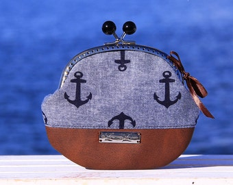 "Frame Coin Purse Handmade, ""Küstenleev Blue"", Cute little Coin Purse, Wallet"