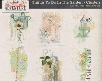 Garden nature outdoors digital download scrapbooking elements, mixed media illustrations paint vintage ephemera, artsy botanical