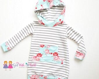 Little Girls Dress, Toddler Hoodie Dress, Girls Dresses, Warm Dress, Winter Dresses, Long Sleeve Dress, French Terry, Stripes and Floral
