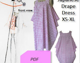 Japanese Drape Dress PDF e-pattern - Instant Download- Full Pictorial Sewing Guide & Detailed Instructions- Size Xs to XL