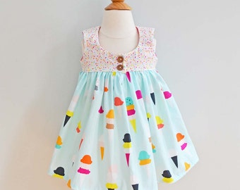 Ruffle Dress, Baby Girl Dress, Girls Summer Dress, Dress for baby girl, Toddler Girl Dress, Girls Ice Cream Party Dress / Flavor of the Day