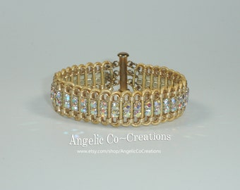 Crystal AB Rhinestone Bracelet ~ 4 Row