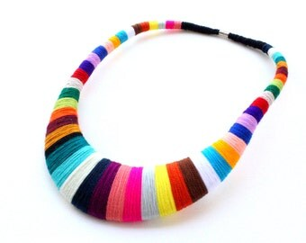 Colorful Statement Necklace Christmas Gift for her Textile Bib Necklace Choker African Statement Fiber necklace Chunky Necklace