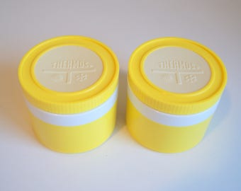 Pair of Stackable Vintage Bright Yellow & White Thermos Insulated Snack Jars