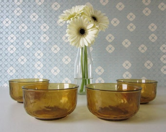 Four Vintage Glass Bowls Yellow or Amber Sierra by Arcoroc 70s 16252