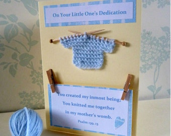 """Small Knitted Jumper Dedication Card, 6""""x4"""" Pink or Blue with Text from Psalm 139"""