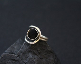 Sterling Silver Mexican Modernist Onyx Ring
