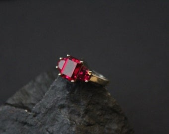 Valentine's Day Sterling Silver and Emerald Cut Red Gemstone Ring