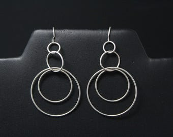 Sterling Circle Dangle Earrings, Concentric Circles, Sterling Silver Circle Earrings, Silver Circle Jewelry, Mod Jewelry, Mod Earrings