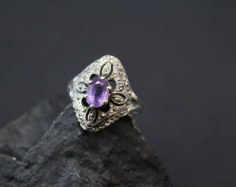 Art Deco Marcasite and Amethyst Ring, Sterling Silver Marcasite Ring, Amethyst Jewelry, Amethyst and Marcasite, Art Deco Amethyst Ring