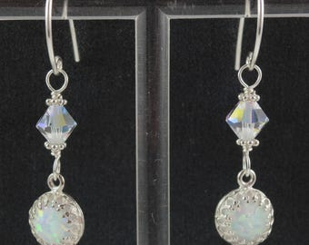 Sterling Silver White Opal Swarovski Crystal Dangle Earrings