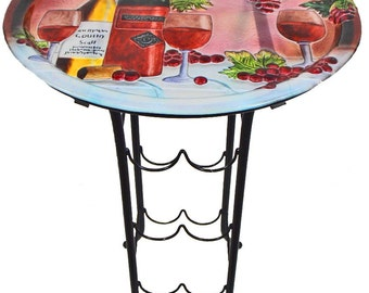 Hand painted Glass top wine holder