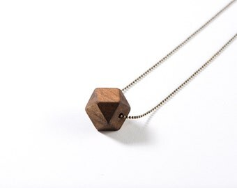 Wood Geometric Necklace - single bead