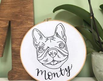 Pet Portrait Embroidery Hoop. Custom Pet Wall art. Dog memorial. Pet lover Wall Art. Dog Mom Housewarming Gift. Thread Painting Home Decor