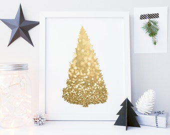 8x10 16x20 christmas tree print gold christmas tree sign glitter christmas printable art gold christmas decorations - Gold Christmas Tree