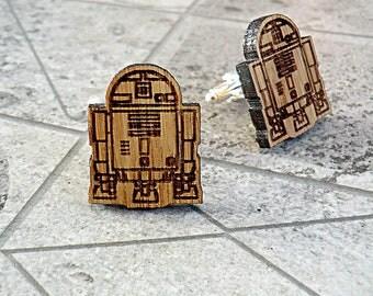 R2D2 Star Wars Wooden Cufflinks Groomsmen gift Star Wars Cuff links Valentines gifts Wedding Gifts for men Groomsmen cufflinks