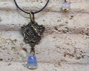 Victorian Style Brass Bird Necklace with moonstone