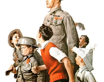 Hero's Welcome, Post Cover painted by Norman Rockwell in 1919. The page is approx. 11 3/4 inches wide and 15 inches tall.