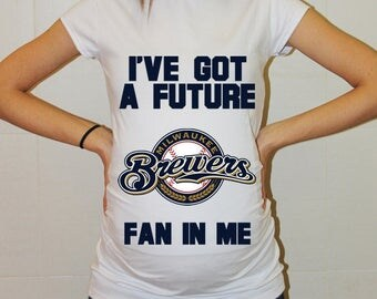 Milwaukee Brewers Baby Milwaukee Brewers Shirt Women Maternity Shirt Funny Baseball Pregnancy Pregnancy Shirts Pregnancy Clothing
