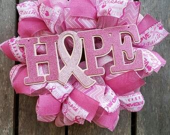 Hope Breast Cancer Awareness Wreath