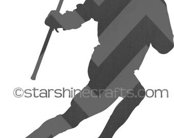 Lacrosse player silhouette SVG for personal cutting machines - instant download