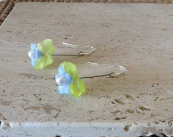 Delicate Green and Baby Blue Petal Hanging  Lucite Flower on Ball Hooks Earrings. Unique gift.