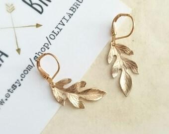 Gold Leaf Earrings Gold Leverback Earrings Gold Dangle Earrings Brass Earrings Gold Lever back Earrings Charm Earrings Leaf Jewelry