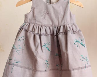 Antique linen day dress in dragonfly pattern