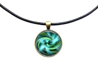 Aqua Swirl necklace Sacred Geometry jewelry Fractal pendant