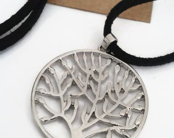 Tree of life pendant on long black suede necklace