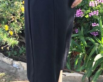 Vintage 60s 70s Black Pencil Skirt M/L Medium Large